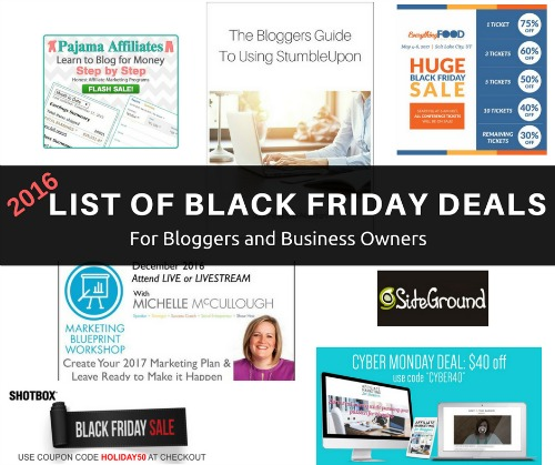 Huge List of Black Friday Cyber Monday Deals for Bloggers