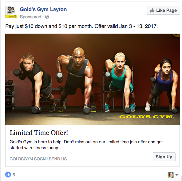 Gold's Gym Facebook Ad